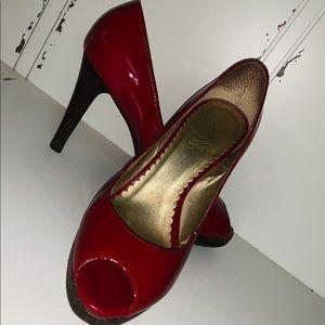 Red Jessica Simpson Peep Toe Patton Leather Heel 8